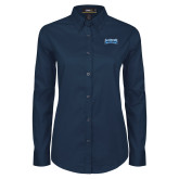 Ladies Navy Twill Button Down Long Sleeve-Saint Peters Peacock Nation Banner