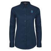 Ladies Navy Twill Button Down Long Sleeve-Peacock