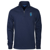 Navy Slub Fleece 1/4 Zip Pullover-Peacock