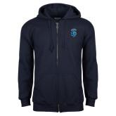 Navy Fleece Full Zip Hoodie-Peacock