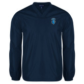 V Neck Navy Raglan Windshirt-Peacock