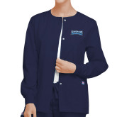Ladies Navy Snap Front Warm Up Scrub Jacket-Saint Peters Peacock Nation Banner