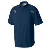 Columbia Tamiami Performance Navy Short Sleeve Shirt-Peacock