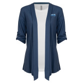 Ladies Navy Drape Front Cardigan-Saint Peters Peacock Nation Banner