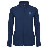 Ladies Fleece Full Zip Navy Jacket-Peacock