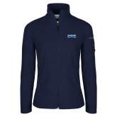 Columbia Ladies Full Zip Navy Fleece Jacket-Saint Peters Peacock Nation Banner