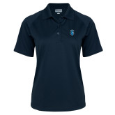 Ladies Navy Textured Saddle Shoulder Polo-Peacock