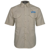 Khaki Short Sleeve Performance Fishing Shirt-Saint Peters Peacock Nation Banner