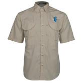 Khaki Short Sleeve Performance Fishing Shirt-Peacock
