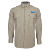 Khaki Long Sleeve Performance Fishing Shirt-Saint Peters Peacock Nation Banner