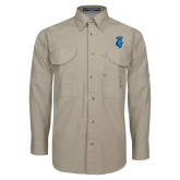 Khaki Long Sleeve Performance Fishing Shirt-Peacock