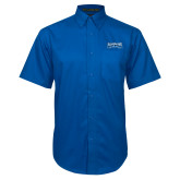 Royal Twill Button Down Short Sleeve-Saint Peters Peacock Nation Banner