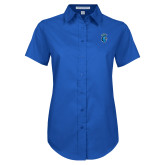 Ladies Royal Twill Button Up Short Sleeve-Peacock