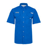 Columbia Bonehead Royal Short Sleeve Shirt-Saint Peters Peacock Nation Banner