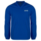 V Neck Royal Raglan Windshirt-Saint Peters Peacock Nation Banner