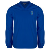 V Neck Royal Raglan Windshirt-Peacock