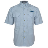 Light Blue Short Sleeve Performance Fishing Shirt-Saint Peters Peacock Nation Banner