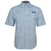 Light Blue Short Sleeve Performance Fishing Shirt-Saint Peters Peacock Nation Banner