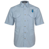 Light Blue Short Sleeve Performance Fishing Shirt-Peacock