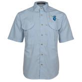 Light Blue Short Sleeve Performance Fishing Shirt-Peacock