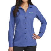 Ladies Red House French Blue Long Sleeve Shirt-Saint Peters Peacock Nation Banner