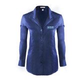 Ladies Red House Deep Blue Herringbone Non Iron Long Sleeve Shirt-Saint Peters Peacock Nation Banner