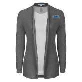 Ladies Heather Grey Open Front Cardigan-Saint Peters Peacock Nation Banner