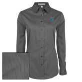 Ladies Grey Tonal Pattern Long Sleeve Shirt-Peacock