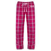 Ladies Dark Fuchsia/White Flannel Pajama Pant-Saint Peters University