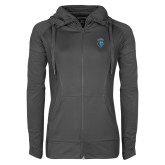 Ladies Sport Wick Stretch Full Zip Charcoal Jacket-Peacock