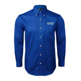 Royal Twill Button Down Long Sleeve-Saint Peters Peacock Nation Banner