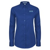 Ladies Royal Twill Button Down Long Sleeve-Saint Peters Peacock Nation Banner