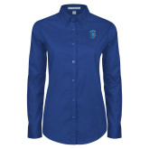 Ladies Royal Twill Button Down Long Sleeve-Peacock