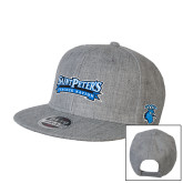 Heather Grey Wool Blend Flat Bill Snapback Hat-Saint Peters Peacock Nation Banner