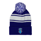 Royal/White Two Tone Knit Pom Beanie with Cuff-Peacock
