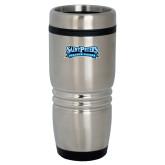 Rolling Ridges Silver Stainless Tumbler-Saint Peters Peacock Nation Banner