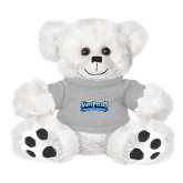 Plush Big Paw 8 1/2 inch White Bear w/Grey Shirt-Saint Peters Peacock Nation Banner