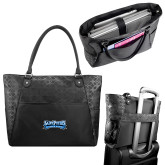 Sophia Checkpoint Friendly Black Compu Tote-Saint Peters Peacock Nation Banner
