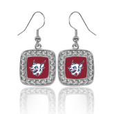 Crystal Studded Square Pendant Silver Dangle Earrings-Bobcat Head