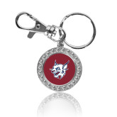 Crystal Studded Round Key Chain-Bobcat Head