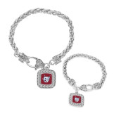 Silver Braided Rope Bracelet With Crystal Studded Square Pendant-Bobcat Head