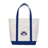Contender White/Navy Canvas Tote-STU w/ Bobcat Head