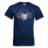 Navy T Shirt-STU w/ Bobcat Head Distressed