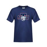 Youth Navy T Shirt-STU w/ Bobcat Head
