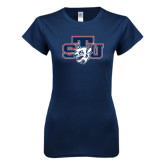 Next Level Ladies SoftStyle Junior Fitted Navy Tee-STU w/ Bobcat Head