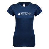 Next Level Ladies SoftStyle Junior Fitted Navy Tee-University Mark