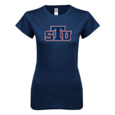 Next Level Ladies SoftStyle Junior Fitted Navy Tee-STU