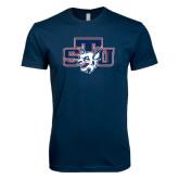 Next Level SoftStyle Navy T Shirt-STU w/ Bobcat Head