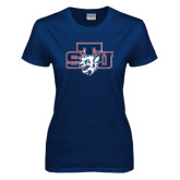 Ladies Navy T Shirt-STU w/ Bobcat Head