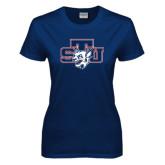 Ladies Navy T Shirt-STU w/ Bobcat Head